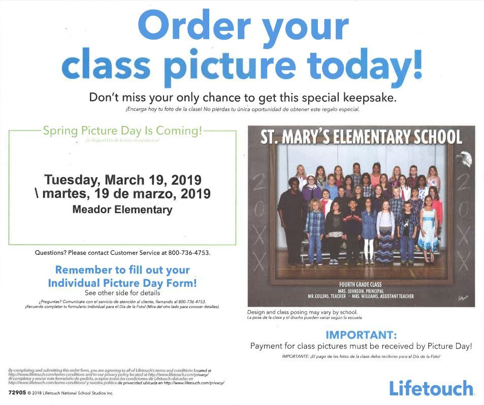 Spring Pictures - 3/19 - Spring Pictures will be the Tuesday after Spring Break. Don't forget your order form and money!