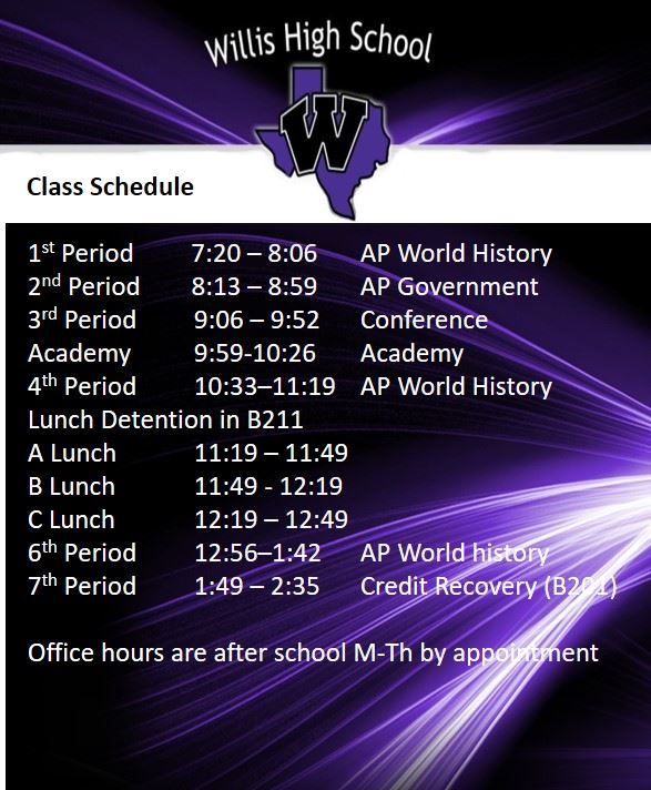 Mr. Robinson Schedule