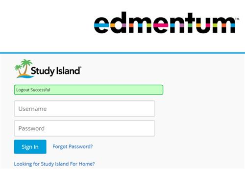 Log-in page for Study Island