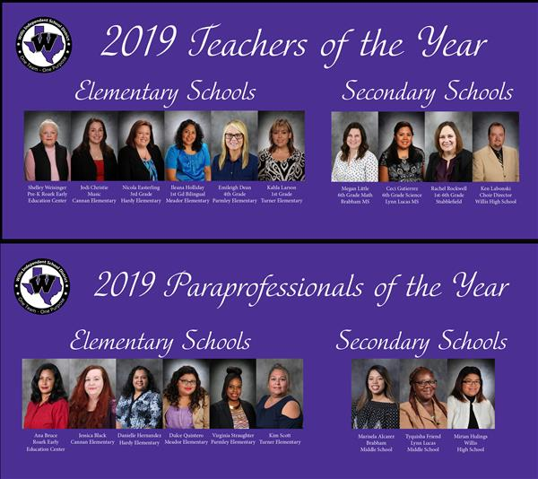 Teacher and Para of the Year graphics