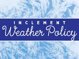 Inclement Weather Policy graphic with icy background