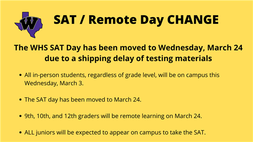 SAT Rescheduled to March 24
