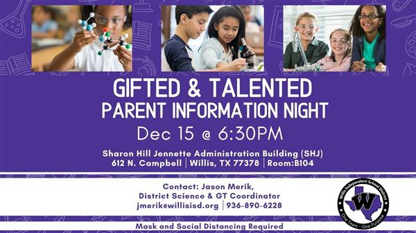 Informational image about GT Parent Information Night